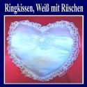 Ringkissen Hochzeit, Weiß mit Rüschen
