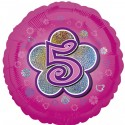 Luftballon aus Folie mit Helium, 5. Geburtstag, Rosa, Mädchen