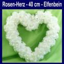 Rosen-Herz, Elfenbein, Herz aus Rosen, 40 cm, Dekoration Hochzeit