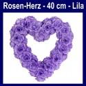 Rosen-Herz, Lila, Herz aus Rosen, 40 cm, Dekoration Hochzeit