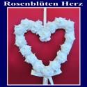 Rosenblütenherz in Weiß, Dekorations-Hänger Hochzeit