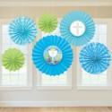 Rosetten zur Kommunion, 6 Stück Deko-Fächer, Blau und Grün Festdekoration
