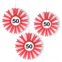 Deko-Rosetten, Verkehrsschild 50 zum 50. Geburtstag , 3er Set
