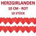 Herzgirlanden Rot 10 cm 10 Stück