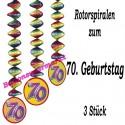 Dekorationshänger zum 70. Geburtstag, 3 Stück Rotorspiralen, Zahl 70