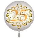 Luftballon aus Folie zum 25. Geburtstag, Satin Weiß, 45 cm, rund, inklusive Helium