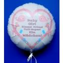 Baby Girl - Ein Mädchen! Rund-Luftballon mit Helium zur Geburt