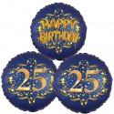 Ballon-Bukett, 3 Luftballons, Satin Navy & Gold 25 Happy Birthday zum 25. Geburtstag, inklusive Helium