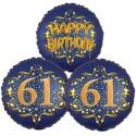 Ballon-Bukett, 3 Luftballons, Satin Navy & Gold 61 Happy Birthday zum 61. Geburtstag, inklusive Helium