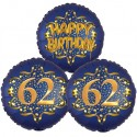 Ballon-Bukett, 3 Luftballons, Satin Navy & Gold 62 Happy Birthday zum 62. Geburtstag, inklusive Helium
