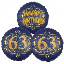 Ballon-Bukett, 3 Luftballons, Satin Navy & Gold 63 Happy Birthday zum 63. Geburtstag, inklusive Helium