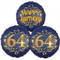 Ballon-Bukett, 3 Luftballons, Satin Navy & Gold 64 Happy Birthday zum 64. Geburtstag, inklusive Helium