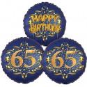 Ballon-Bukett, 3 Luftballons, Satin Navy & Gold 65 Happy Birthday zum 65. Geburtstag, inklusive Helium