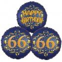 Ballon-Bukett, 3 Luftballons, Satin Navy & Gold 66 Happy Birthday zum 66. Geburtstag, inklusive Helium
