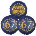 Ballon-Bukett, 3 Luftballons, Satin Navy & Gold 67 Happy Birthday zum 67. Geburtstag, inklusive Helium