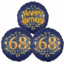 Ballon-Bukett, 3 Luftballons, Satin Navy & Gold 68 Happy Birthday zum 68. Geburtstag, inklusive Helium