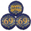 Ballon-Bukett, 3 Luftballons, Satin Navy & Gold 69 Happy Birthday zum 69. Geburtstag, inklusive Helium