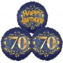Ballon-Bukett, 3 Luftballons, Satin Navy & Gold 70 Happy Birthday zum 70. Geburtstag, inklusive Helium