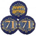 Ballon-Bukett, 3 Luftballons, Satin Navy & Gold 71 Happy Birthday zum 71. Geburtstag, inklusive Helium
