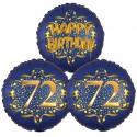 Ballon-Bukett, 3 Luftballons, Satin Navy & Gold 72 Happy Birthday zum 72. Geburtstag, inklusive Helium