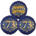 Ballon-Bukett, 3 Luftballons, Satin Navy & Gold 73 Happy Birthday zum 73. Geburtstag, inklusive Helium