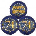 Ballon-Bukett, 3 Luftballons, Satin Navy & Gold 74 Happy Birthday zum 74. Geburtstag, inklusive Helium
