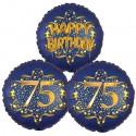 Ballon-Bukett, 3 Luftballons, Satin Navy & Gold 75 Happy Birthday zum 75. Geburtstag, inklusive Helium