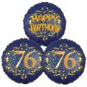 Ballon-Bukett, 3 Luftballons, Satin Navy & Gold 76 Happy Birthday zum 76. Geburtstag, inklusive Helium