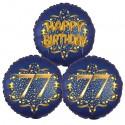 Ballon-Bukett, 3 Luftballons, Satin Navy & Gold 77 Happy Birthday zum 77. Geburtstag, inklusive Helium