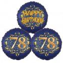 Ballon-Bukett, 3 Luftballons, Satin Navy & Gold 78 Happy Birthday zum 78. Geburtstag, inklusive Helium