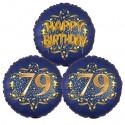 Ballon-Bukett, 3 Luftballons, Satin Navy & Gold 79 Happy Birthday zum 79. Geburtstag, inklusive Helium