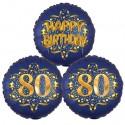 Ballon-Bukett, 3 Luftballons, Satin Navy & Gold 80 Happy Birthday zum 80. Geburtstag, inklusive Helium