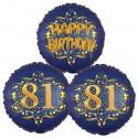 Ballon-Bukett, 3 Luftballons, Satin Navy & Gold 81 Happy Birthday zum 81. Geburtstag, inklusive Helium