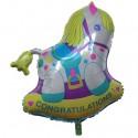 Luftballon Schaukelpferd, Congratulations, großer Folienballon mit Ballongas