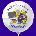 School is Cool! Weißer Luftballon zum Schulanfang, mit dem Namen des Schulanfängers, inkl. Helium-Ballongas