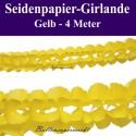 Seidenpapier-Girlande Gelb, 4 Meter