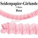 Seidenpapier-Girlande Rosa, 3 Meter