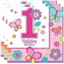 Kindergeburtstag-Servietten, Sweet Birthday Girl, zum 1. Geburtstag