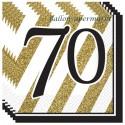 Geburtstagsservietten zum 70. Geburtstag, Black and Gold
