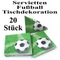 Tischdekoration-Servietten Fußball, 20 Stück