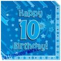 Kindergeburtstag-Servietten, Happy 10th Birthday Blau, zum 10. Geburtstag, Junge