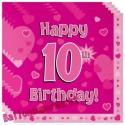 Kindergeburtstag-Servietten, Happy 10th Birthday Pink, zum 10. Geburtstag, Mädchen