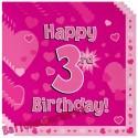 Kindergeburtstag-Servietten, Happy 3rd Birthday Pink, zum 3. Geburtstag, Mädchen