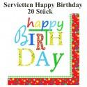 Servietten Happy Birthday zum Geburtstag, 20 Stück