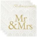 Servietten zur Hochzeit, Mr & Mrs, gold, 20 Stück