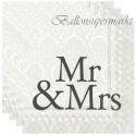 Servietten zur Hochzeit, Mr & Mrs, schwarz, 20 Stück