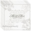 Servietten zur Hochzeit, Mr & Mrs, silber, hochwertig geprägt, 16 Stück