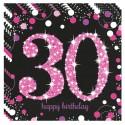Geburtstagsservietten zum 30. Geburtstag, Pink Celebration