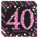 Geburtstagsservietten zum 40. Geburtstag, Pink Celebration