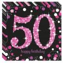 Geburtstagsservietten zum 50. Geburtstag, Pink Celebration